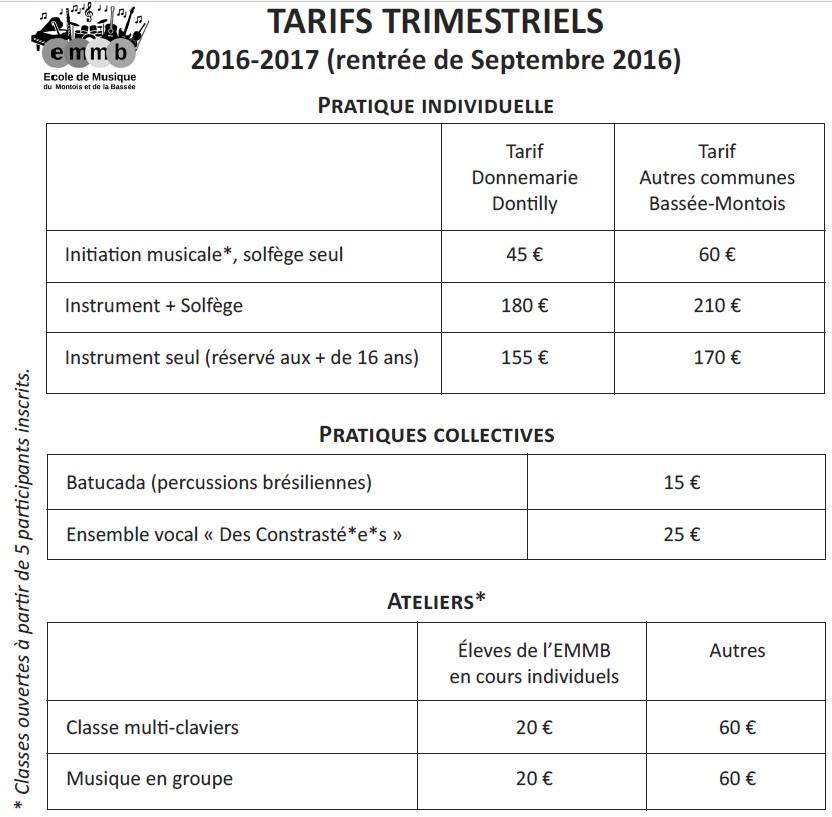 tarifs EMMB 2016